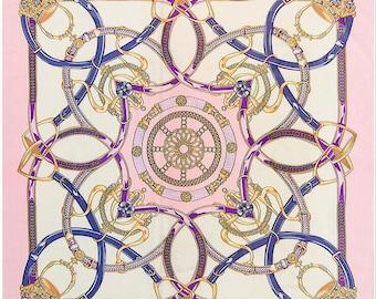 Equestrian Print Scarf 100 % Silk Square Scarf Silk Royal Print Scarves Luxurious Silk Shawl Women Silk Scarves Wedding Shawl Royal Pattern