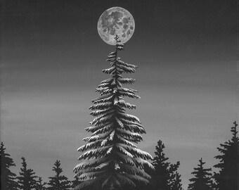 The Night Before PRINT | Night Print | Christmas Tree | Nature Print | Night art | Nature Art