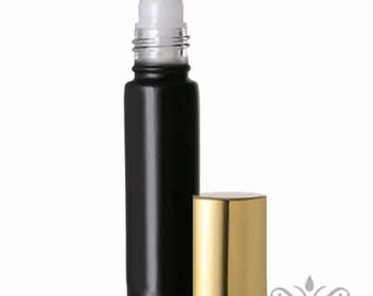 12 Black 10ml GLASS Roll On ROLLER ball Bottles Gold Cap metallic Sleek Modern Aromatherapy Essential Oil Perfume Cologne Lip Gloss 1/3 oz.