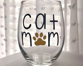 Cat Mom Stemless Wine Glass