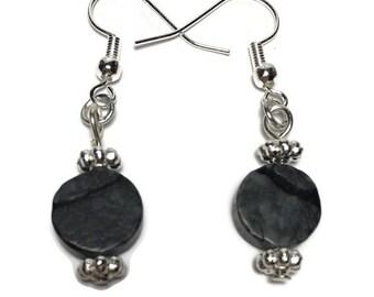 Black line jasper earrings, black veined jasper, under 10, gift for her, teacher gift, stocking stuffer, healing stone, black stone jewelry