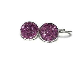 chunky druzy, druzy earrings, purple druzy, pink druzy, geode earrings, druzy lever back, under 10 dollars, french leverback, hypoallergenic