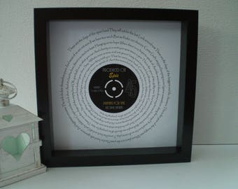 """George Michael 'Praying for Time' 7"""" Single Song Lyric Frame for Friendship, Song of our time, Birthday, Anniversary, Vinyl Record Art"""