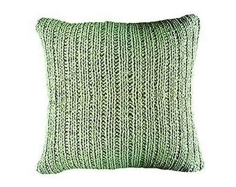 Knit Throw Pillow Cotton Variegated Sage