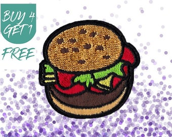 Food Patches Hamburger Patches Iron On Patch Embroidered Patch Fast Food Burger