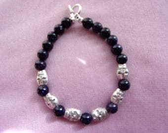 Mens Blue Sandstone and skull bracelet