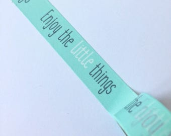 Mint coloured Washi tape with the text 'enjoy the little things' // Decoration Gift wrapping Masking Bullet Journal handlettering lettering
