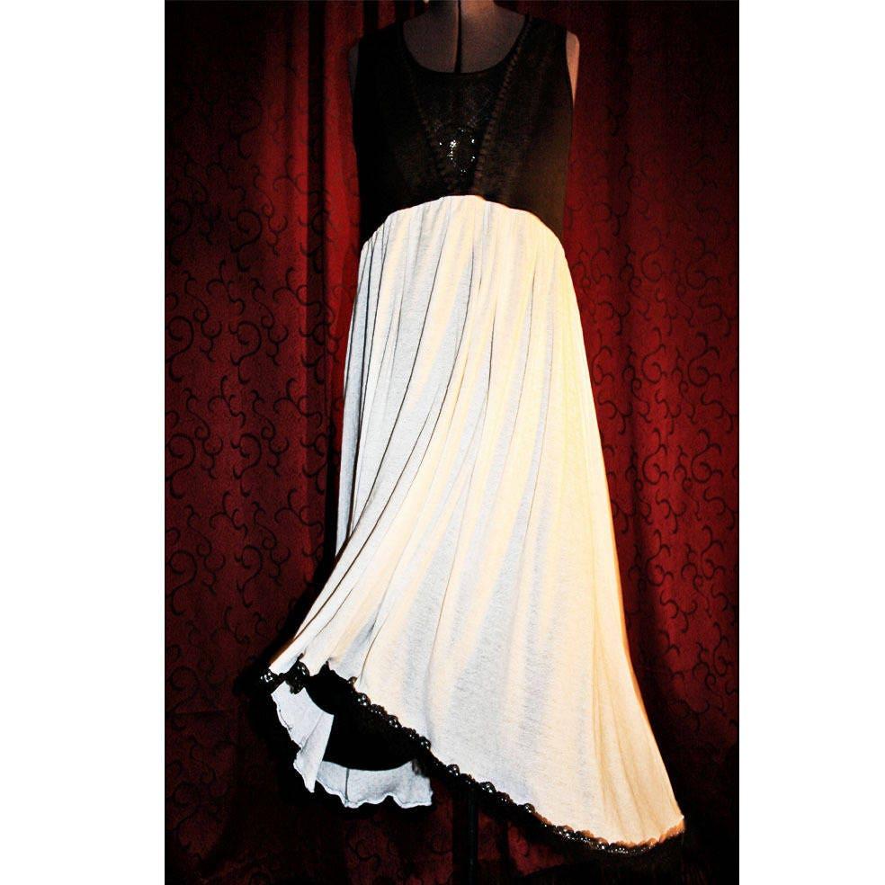 robe longue empire en dentelle et stretch taille 44 46. Black Bedroom Furniture Sets. Home Design Ideas