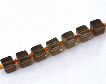 Beautiful set of 15 beads composed of smoky Quartz and carnelian