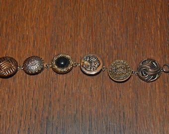 Handmade With Vintage Metal Buttons Bracelet