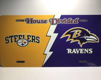 House Divided Ravens and Steelers License Plate NFL