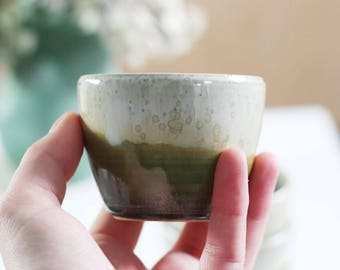 Teacup / coffee stoneware - Lichen - ceramic - homemade