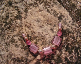 Pink, pink and silver square glass beads necklace