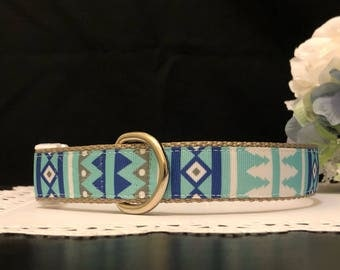 Handcrafted Dog Collar- Blue Pines Design