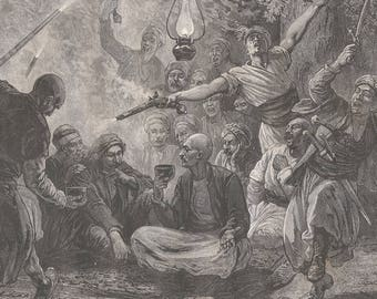 A Celebration in the Ansaries, Syria 1880 - Old Antique Vintage Engraving Art Print - Men, Women, Musket, Drinking, Sword, Lamp, Rug
