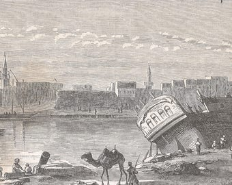 Port Of Suez, Egypt 1860 - Old Antique Vintage Engraving Art Print - Camel, Ship, Boats, Canal, Coast, Port, Buildings, Tower, Mooring