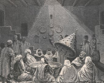Algeria 1881, The Banquet, Old Antique Vintage Engraving Art Print, Men, Feast, Gathering, House, Steps, Food, Plates, Hookah, Pitcher