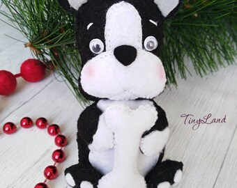 Dog Ornaments, Felt Animals, Boston Terrier, Felt Pug, Bull Terrier Puppy, Christmas Decorations, New Year Symbols, Housewarming Decorations