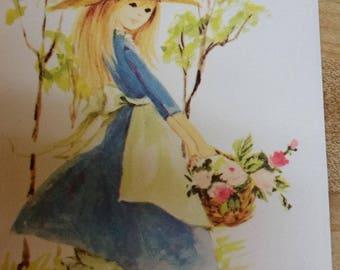 Vintage Greeting Card - Vintage Blank Card * Little Gardening Gal Blank Card - Unused Blank Card