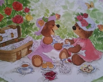Vintage  Greeting Card ~ Suzy Zoo Blank Card  - Lady Bears Enjoying Tea for Two