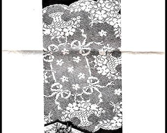PDF Filet Crochet Tablecloth Pattern Design 773,Baskets and Ribbons