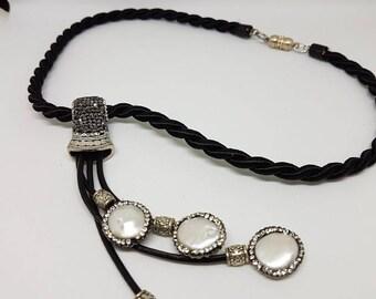 Black white choker necklace