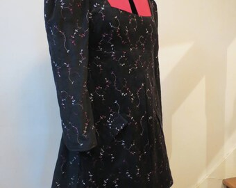 Winter dress, empire style, in black corduroy