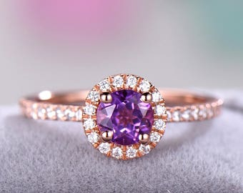 Amethyst Engagement Ring Rose Gold CZ Diamond Halo 925 Sterling Silver Round Cut Half Eternity Simple Wedding Promise Ring Women Bridal Gift