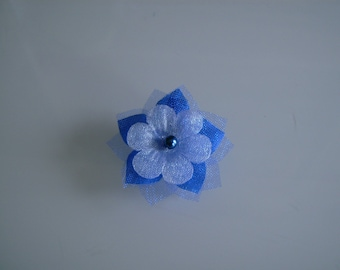 Flower to sew or glue it on a dress/jewellery/decorative bridal/wedding/evening blue Royal/Dark/Navy/electric Original (not cheap, small price)