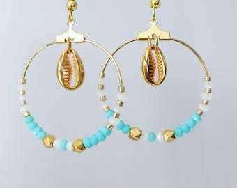 Hoop earrings turquoise, white and gold