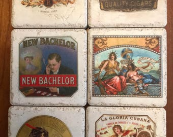 Vintage Cigar Label Tile Coaster