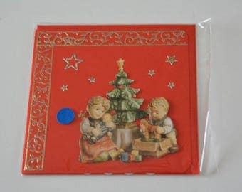 The tree Noel with little boy and little girl card