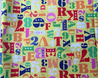 Glitter letters and numbers Japanese cotton * COLLECTOR *-50 x 110 cm