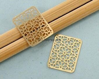 2 small Rectangles Stylises - prints - gold - Dim:15 x 20 mm # F10