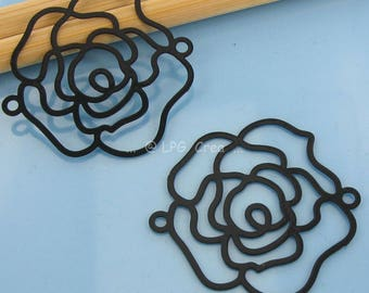 2 prints filigree flower shaped - Diam: 30 mm - black # M78
