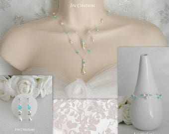 Ornament wedding Lutetia white pearls swarovski Turquoise Crystal and rhinestone