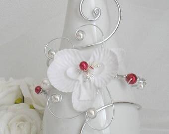 Red White Victoria wedding bracelet swarovski rhinestones