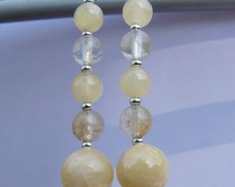 aragonite yellow quartz earrings