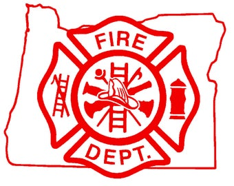 5.5 IN Oregon State Firefighter Maltese Cross - in Red, Pink, or White