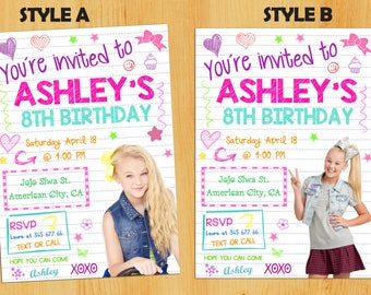 JOJO SIWA invitation.Jojo siwa birthday party invitation.Jojo siwa printable.Jojo siwa invitation. Jojo siwa themed party.Jojo siwa bow.
