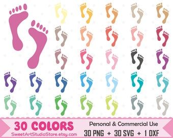 Footprint Clipart, Foot Print planner SVG Silhouette Cricut Cut File Commercial Use (Png Svg Dxf)