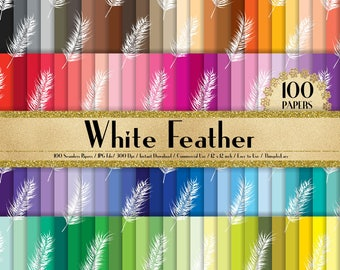 "100 Seamless White Feather Papers in 12"" x 12"", 300 Dpi Planner Paper, Scrapbook Paper,Rainbow Paper, Feather Papers, Vintage Digital Paper"