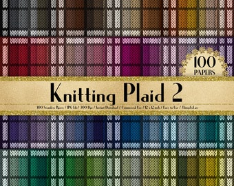 100 Seamless Knitting Plaid Papers, 300 Dpi Planner Paper, Scrapbook Paper, Rainbow Paper, 100 Knitted Papers, Knitting Tartan Paper