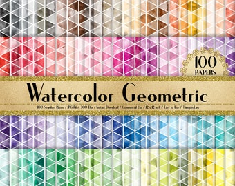 100 Watercolor Geometric Papers 12 inch,300 Dpi Planner Paper,Commercial Use,Scrapbook Paper,Rainbow Paper,100 Geometric Papers,Watercolor