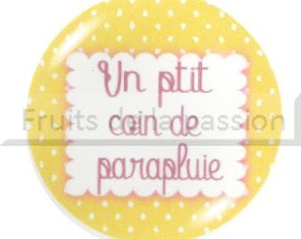 Set of 2 cabochon 20mm yellow text