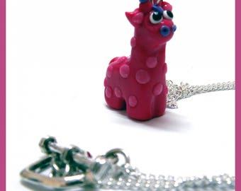 Pink giraffe necklace