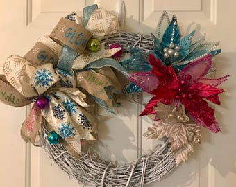 Winter Wreath | Holiday Wreath | Glitter Wreath | Front Door Wreath | Funky Bow Wreath