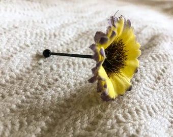 Yellow purple daisy black industrial body jewelry earring