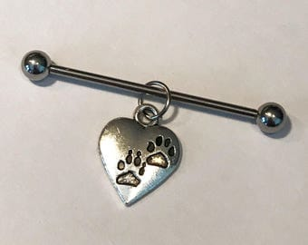 Silver colored dog cat paw print heart charm on stainless steel 14g industrial body jewelry, scaffold piercing, supports animal rescue