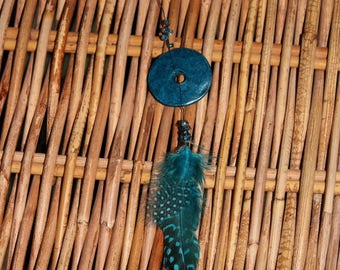 Talisman ring turquoise feather necklace
